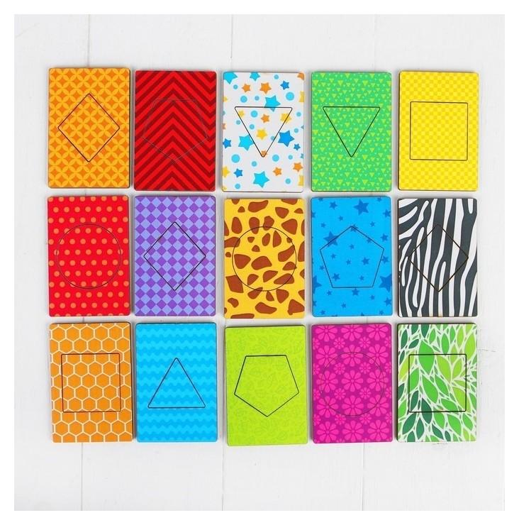 Деревянные карточки Фигуры 15 карточек: 7 × 9 см  Лесная мастерская