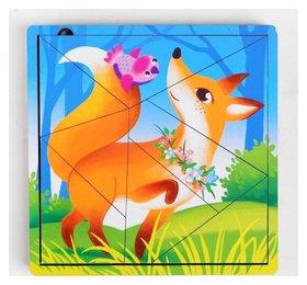 Пазл разрезной Лесные животные 3 картинки в раме