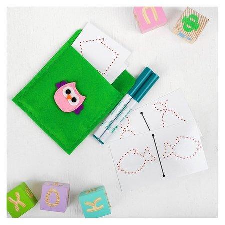 Многоразовые ламинированные карточки для рисования двумя руками + маркеры: 2 шт.  Smile Decor