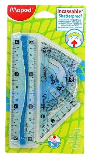 Набор чертежный Flex: Линейка 15 см, 2-треугольника 12 см, транспортир  Maped