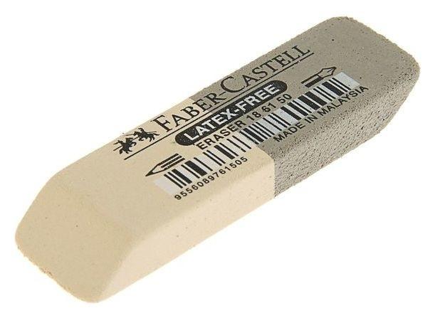 Ластик каучук 7061 50х16х7, двухсторонний для карандашей и чернил, серо-белый  Faber-castell