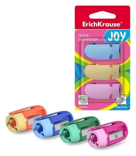 Точилка пластиковая, 1 отверстие, Joy, 3 штуки  Erich krause