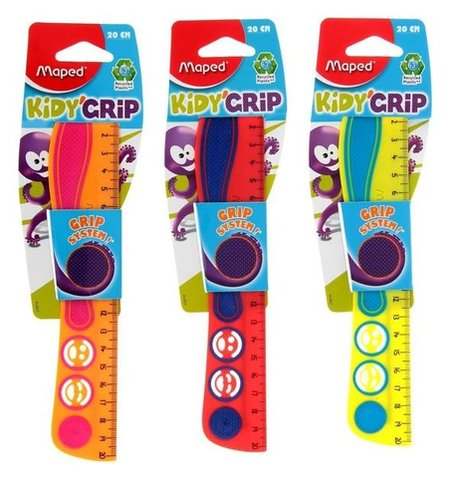 Линейка 20 см, Maped Kidi Grip, цветная, эко-дизайн  Maped