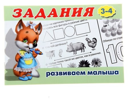 Раскраска с заданиями Развиваем малыша: для детей от 3 лет  Издательство Фламинго