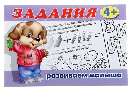 Раскраска с заданиями Развиваем малыша: для детей от 4 лет  Издательство Фламинго