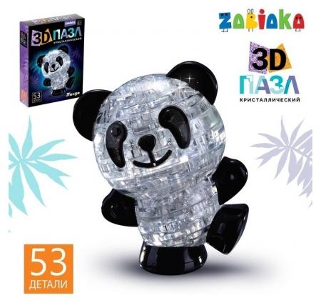 Пазл 3D кристаллический «Панда», 53 детали  Zabiaka