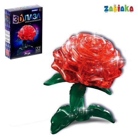 Пазл 3D кристаллический «Роза», 22 детали  Zabiaka
