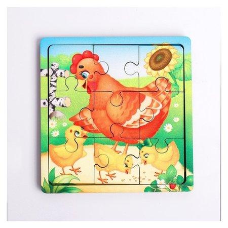 Пазл «Курица с цыплятами», 9 деталей  Лесная мастерская