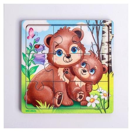 Пазл «Медведица и медвежонок», 9 деталей  Лесная мастерская