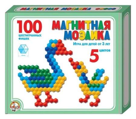 Мозаика магнитная шестигранная, 5 цветов, 100 элементов  Десятое королевство