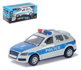 Машина металлическая «Полицейский джип» инерционная, свет и звук, масштаб 1:43