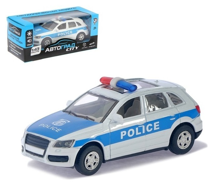 Машина металлическая «Полицейский джип» инерционная, свет и звук, масштаб 1:43 Автоград