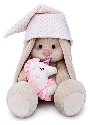 Мягкая игрушка Зайка Ми с розовой подушкой - единорогом, 18 см  Зайка Ми
