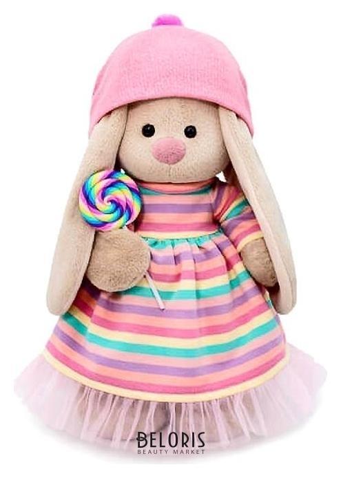 Мягкая игрушка Зайка Ми в полосатом платье с леденцом, 25 см Зайка Ми