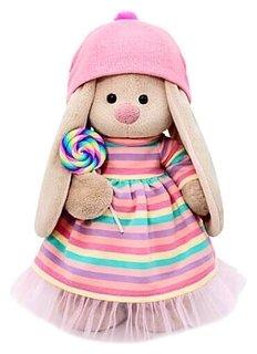 Мягкая игрушка Зайка Ми в полосатом платье с леденцом