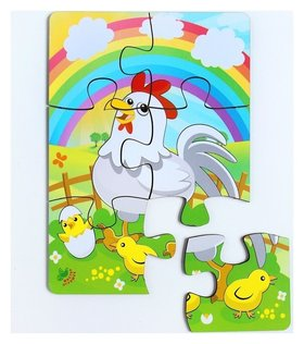 Пазл Курица и радуга, 6 элементов