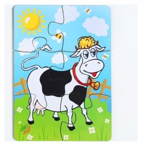 Пазл Корова на лугу, 6 элементов, размер детали: 5 × 4,6 см