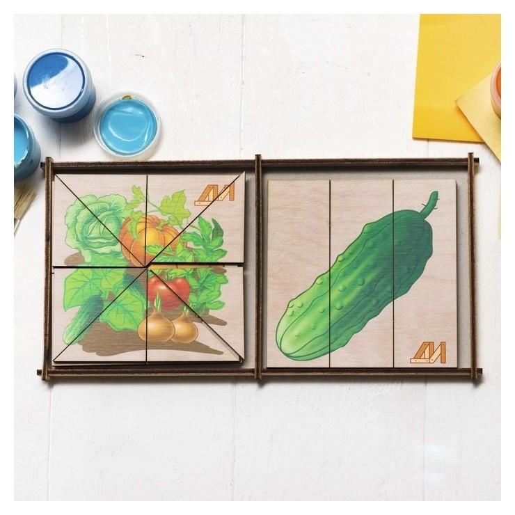 Пазл Сложи картинку. Овощи, 6 картинок с овощами  Деревянные игрушки Динни