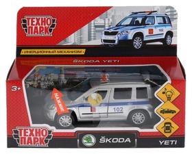 Машина металлическая 12 см световые и звуковые эффекты открывающиеся двери инерционная Scoda Yeti полиция