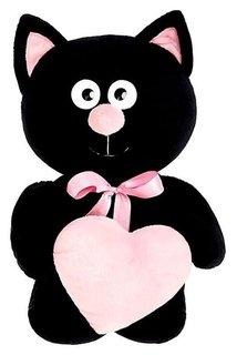Мягкая игрушка Котик с сердцем цвет чёрный 30 см