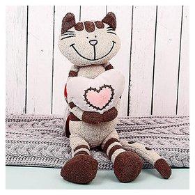 Мягкая игрушка Кот Полосатик с сердцем 33 см