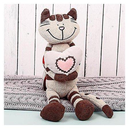 Мягкая игрушка Кот Полосатик с сердцем 33 см  Maxitoys