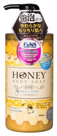 Гель для душа увлажняющий с экстрактом меда и молока Honey Milk  Funs