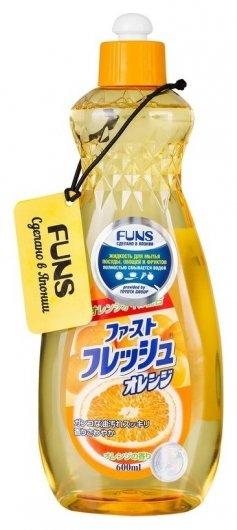 Жидкость для мытья посуды, овощей и фруктов с маслом апельсина  Funs