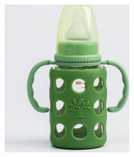 Бутылочка в силиконовом чехле, стекло, 120 мл., для мальчика  Minitree