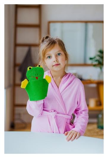 Мочалка-варежка детская с петелькой Лягушонок  Доляна