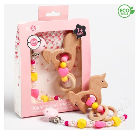 Набор: держатель для соски-пустышки и грызунок-прорезыватель Принцесса   Mum&baby