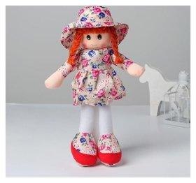 Мягкая игрушка кукла в шляпке и платьишке
