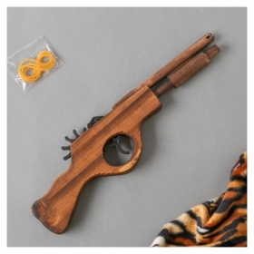 Игрушка деревянная стреляет резинками Пистолет