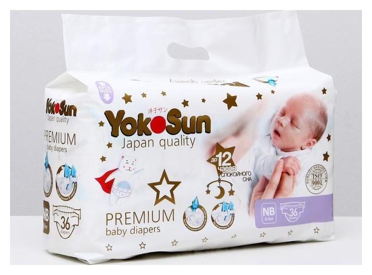 Подгузники Premium NB 0-5 кг, 36 шт  Yokosun