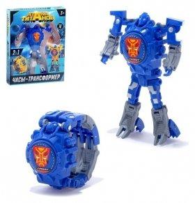 Робот-трансформер Часы с индикацией времени синий  Woow toys