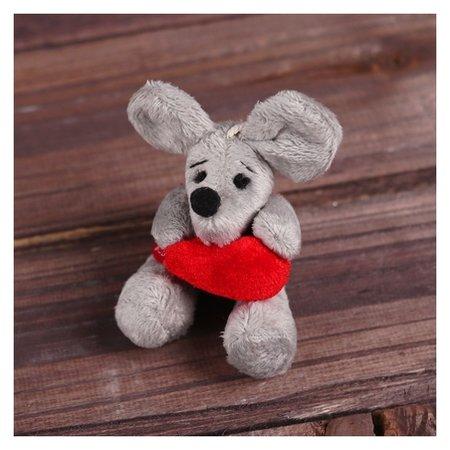Мягкая игрушка-подвеска Мышонок с сердцем в лапках  КНР