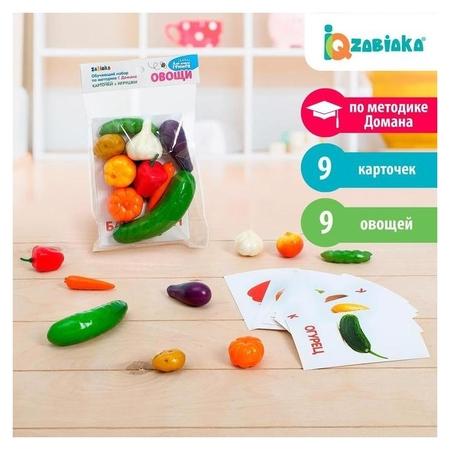 Обучающий набор по методике Г. Домана Овощи 9 карточек + 9 овощей, счётный материал  Iq-zabiaka