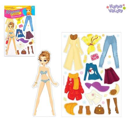 Магнитная игра Одень куклу: времена года   Happy Valley