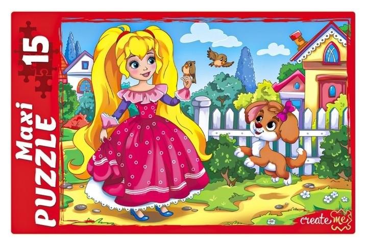 Макси-пазл 15 элементов Принцесса и щенок  Рыжий кот