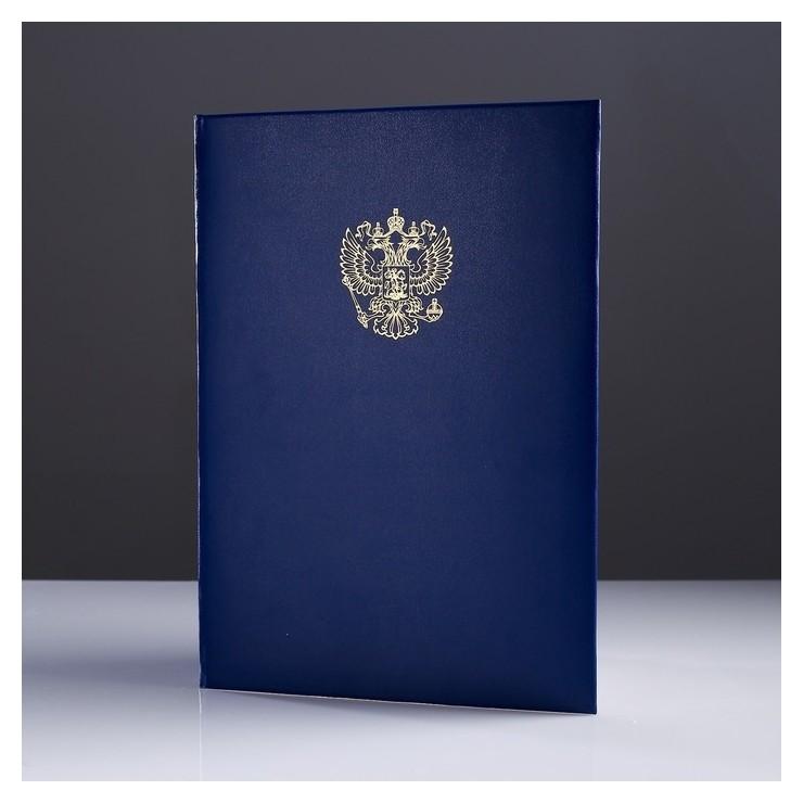 Папка адресная Герб бумвинил, мягкая, синий, А4  Канцбург