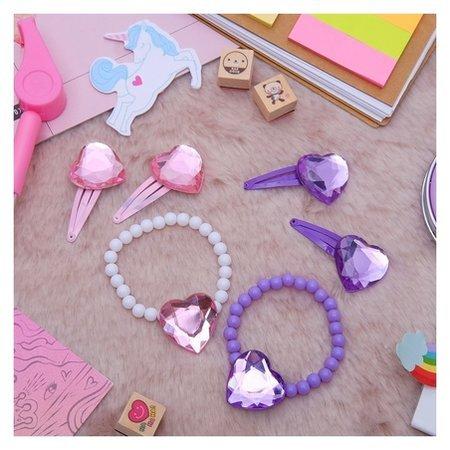 Комплект детский 3 предмета: браслет, 2 заколки, сердца  Выбражулька