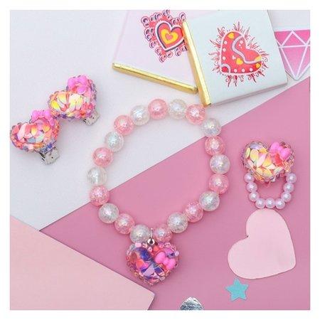 Набор детский 3 предмета: клипсы, кольцо,браслет сердечки блестки  Выбражулька