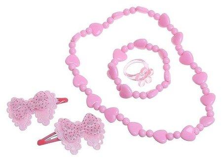 Набор детский 5 предметов: 2 заколки, бусы, браслет, кольцо, бантик с сердечком  Выбражулька