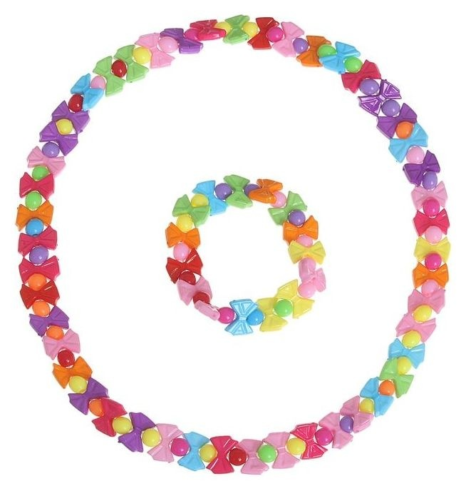 Набор детский 2 предмета: бусы, браслет, бантики   Выбражулька