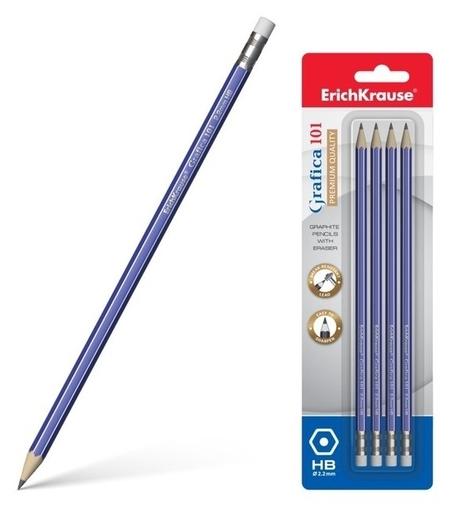 Набор карандашей чернографитных с ластиком Grafica HB  Erich krause