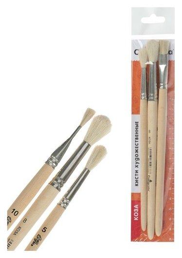 Набор кистей Коза 3 штуки №2 (круглые №: 5, 8 ; плоская №10), деревянная ручка  Calligrata
