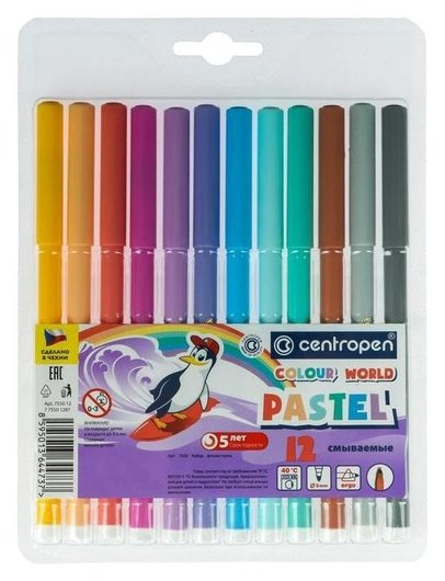 Фломастеры пастельные Colour World Pastel, 12 цветов  Centropen