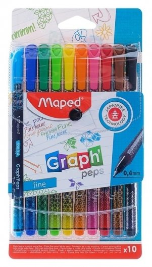 Набор капиллярных ручек 10 цветов, Graph Pep'S, толщина линии - 0.4 мм, эргономичная зона обхвата, в футляре  Maped