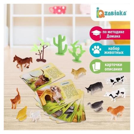 Набор животных с обучающими карточками Фермерское хозяйство, животные пластик, карточки