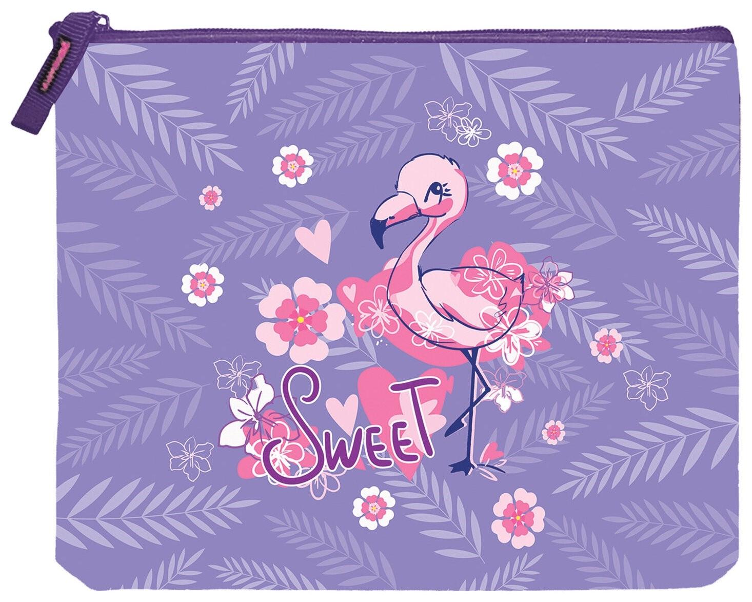 """Папка для тетрадей А5, 1 отделение, ткань, молния сверху, """"Flamingo""""  Brauberg"""